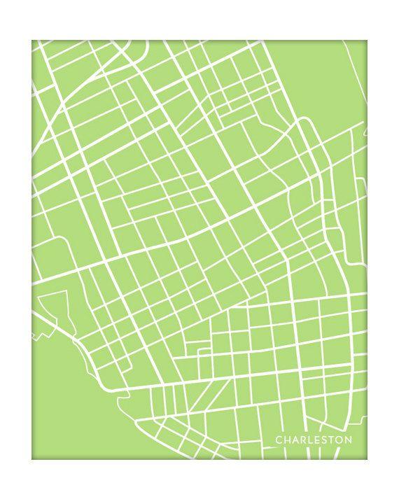 Charleston, SC City Map Poster / South Carolina Art Print / 8x10 ...