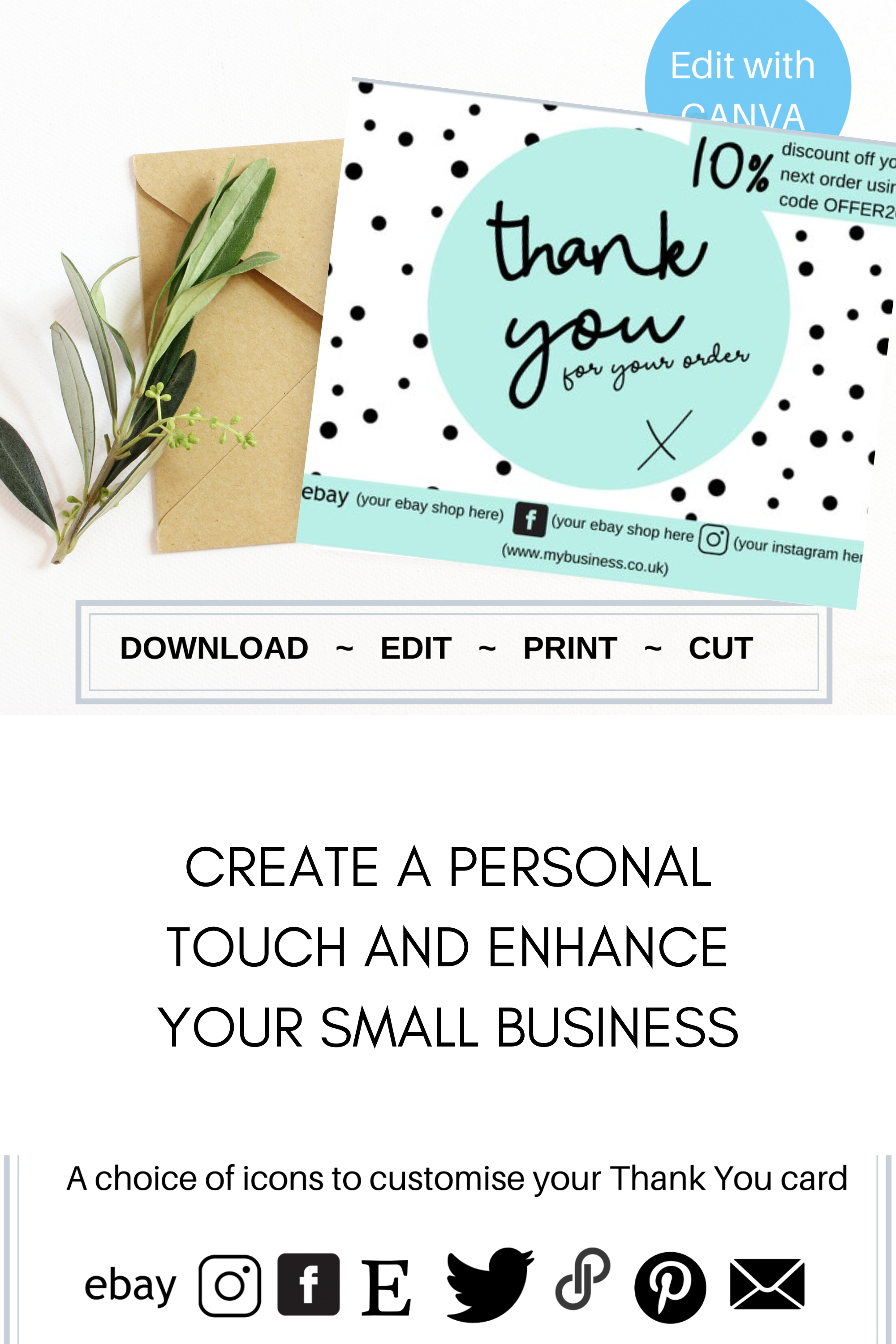 Template For Printable Thank You Business Card Diy Pantry Labels Spice Labels Editable Cards