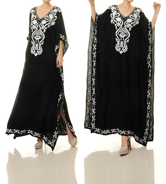 39c4631628a2b Black Embroidered Dress | Black Mexican Dress | Embroidered Kaftan | Black Kaftan  Dress | Embroidere