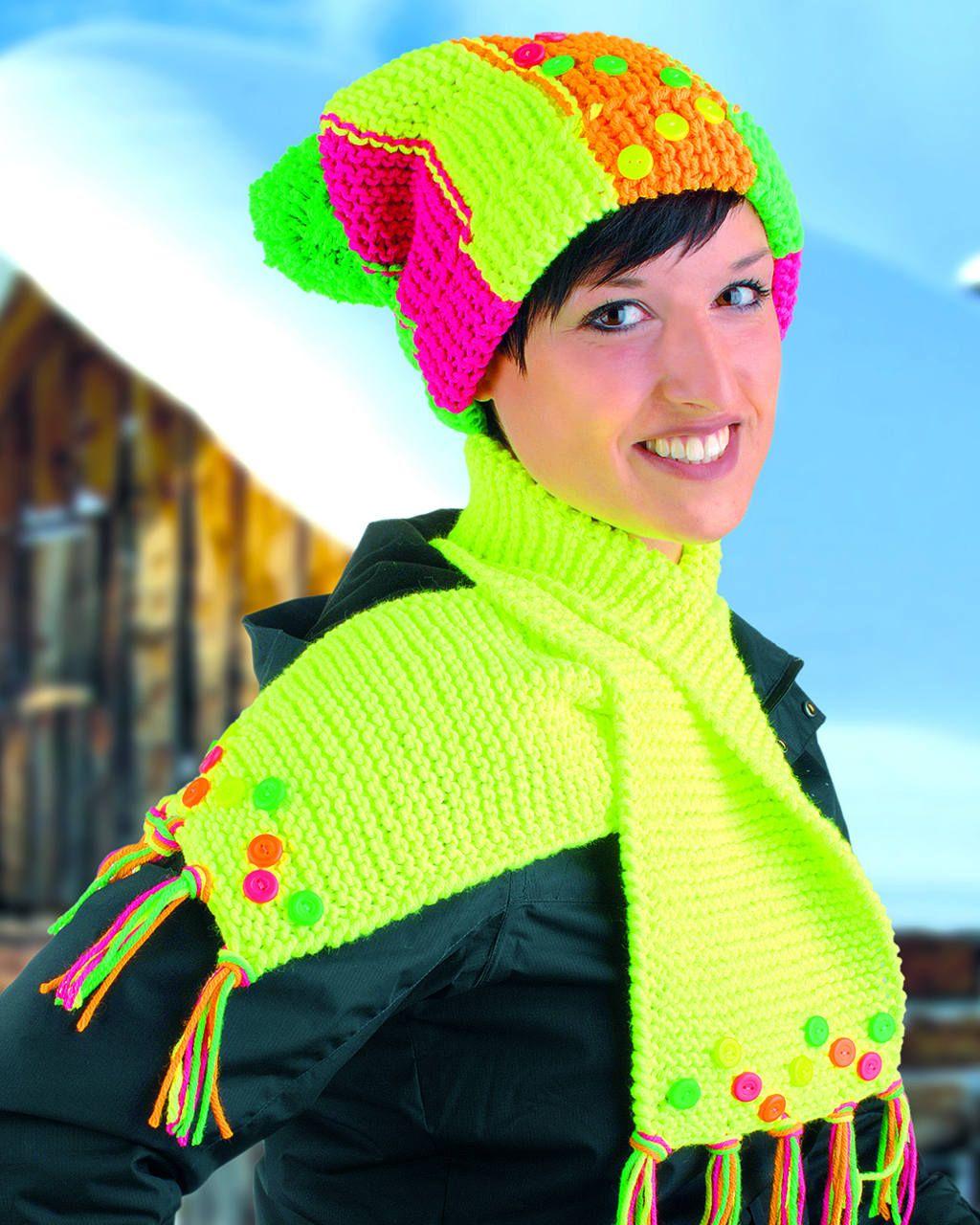 Strickmütze und Schal in Neon mit Outlast | Stricken | Pinterest ...