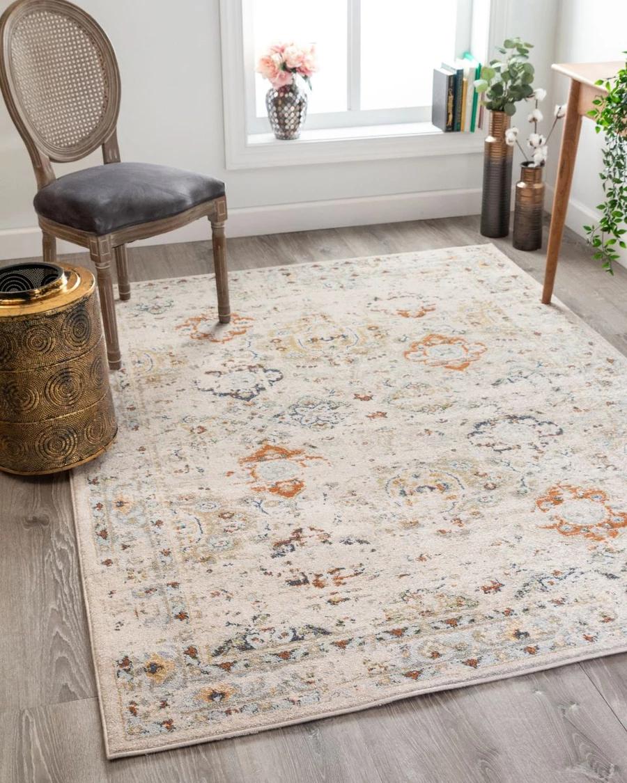 Kian Cream Vintage Panel Distressed Rug In 2021 Distressed Rugs Rugs Rugs On Carpet