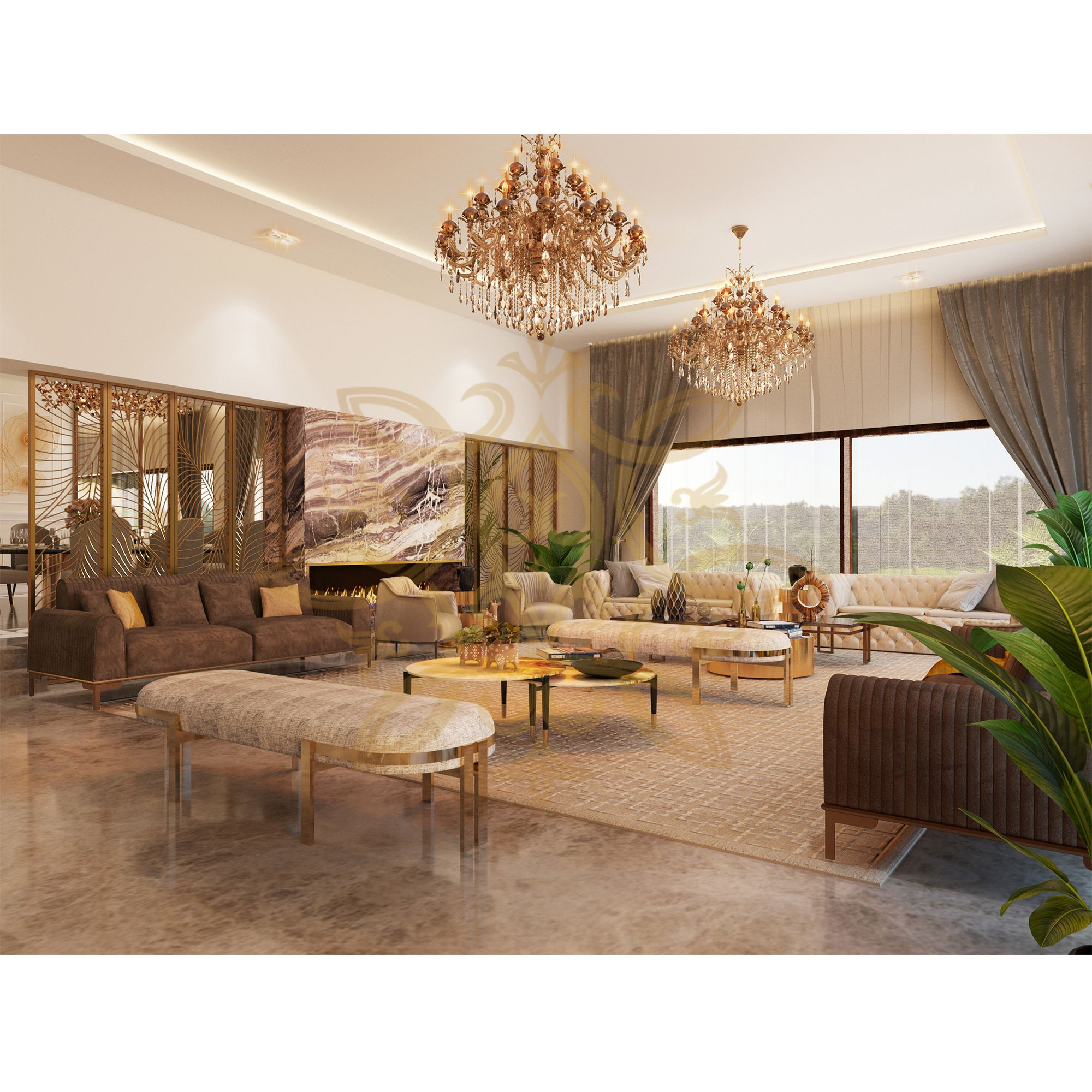 Take In The Luxurious View Of This Opulent Living Room With Lavish