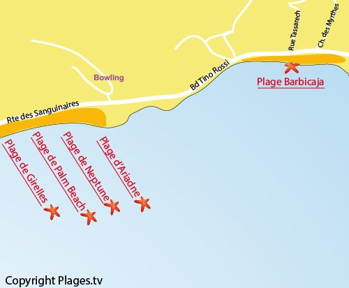 Map of Barbicaja Beach in Ajaccio Mediterranean Pinterest