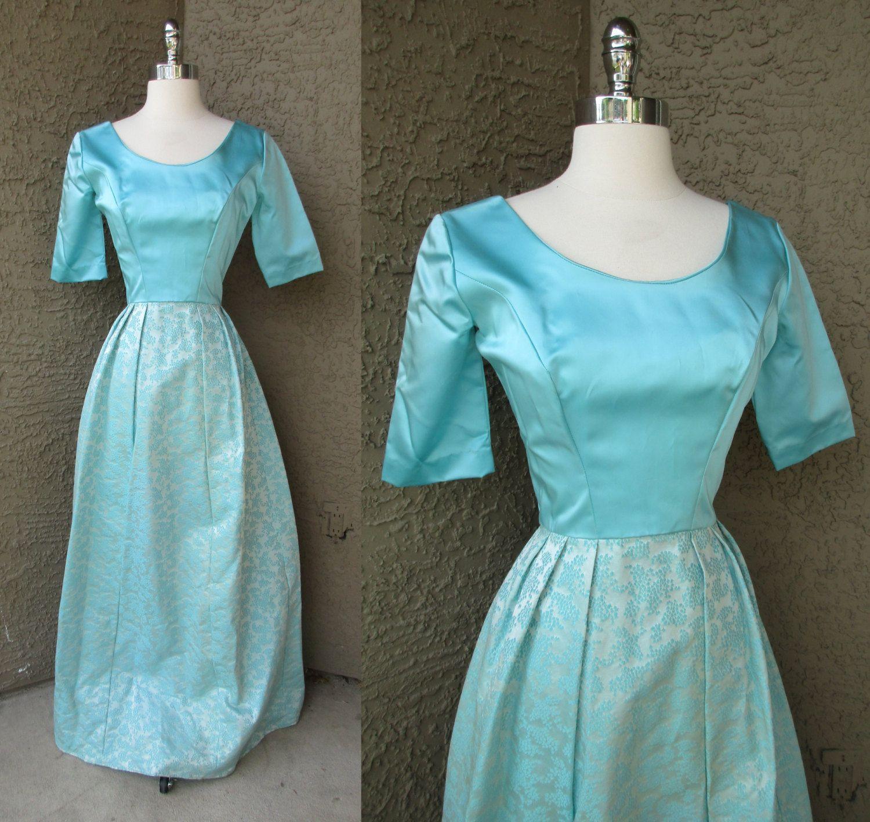 S brocade skirt satiny bodice maxi dress robins egg blue prom