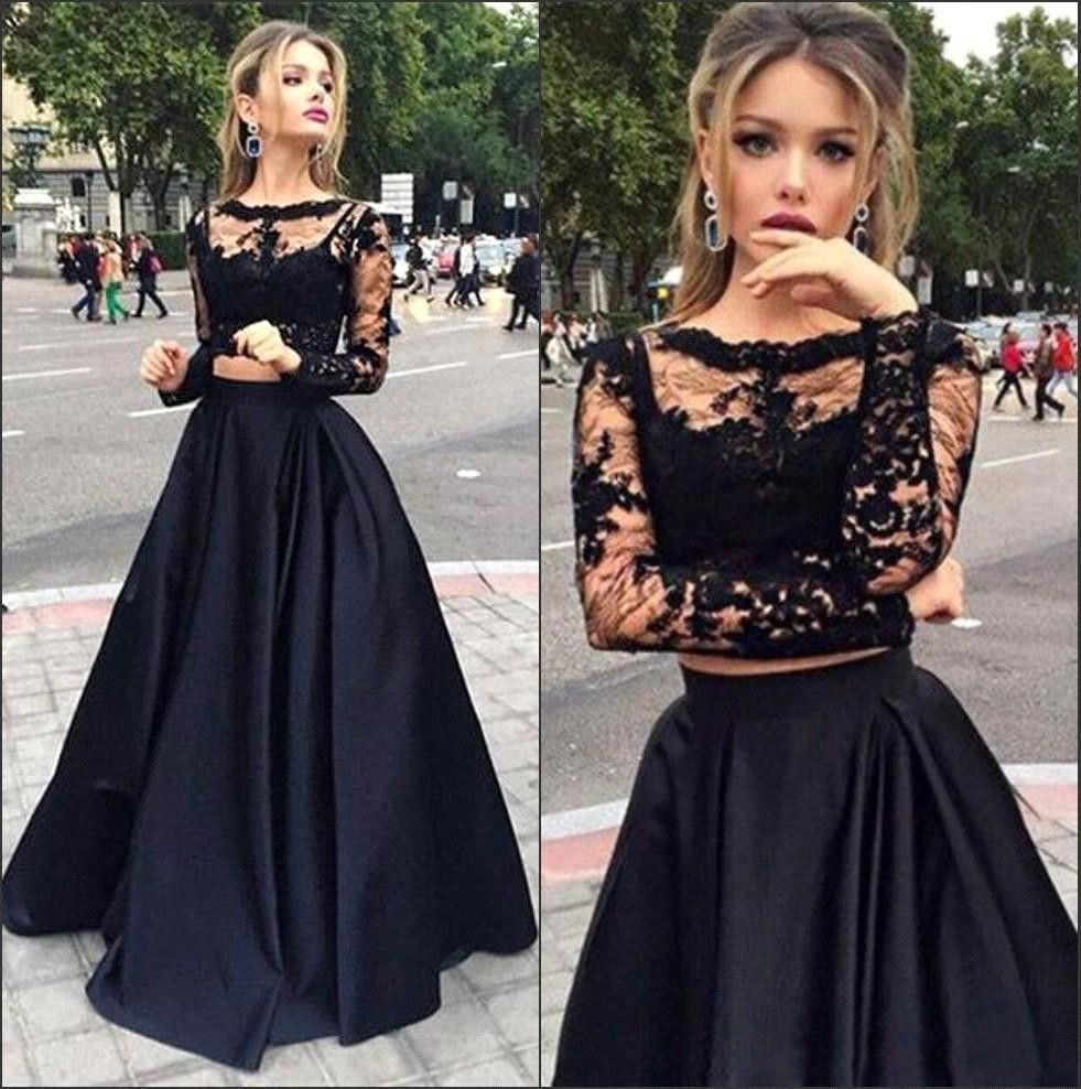 Click To Buy Long Sleeve Muslim Lace Black Two 2 Piece Prom Dress Vestidos Gra Prom Dresses With Sleeves Prom Dresses Long With Sleeves Prom Dresses Lace [ 988 x 981 Pixel ]