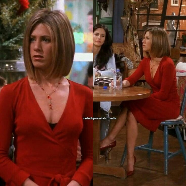 hair low cut red wrap dress dropped necklace brown