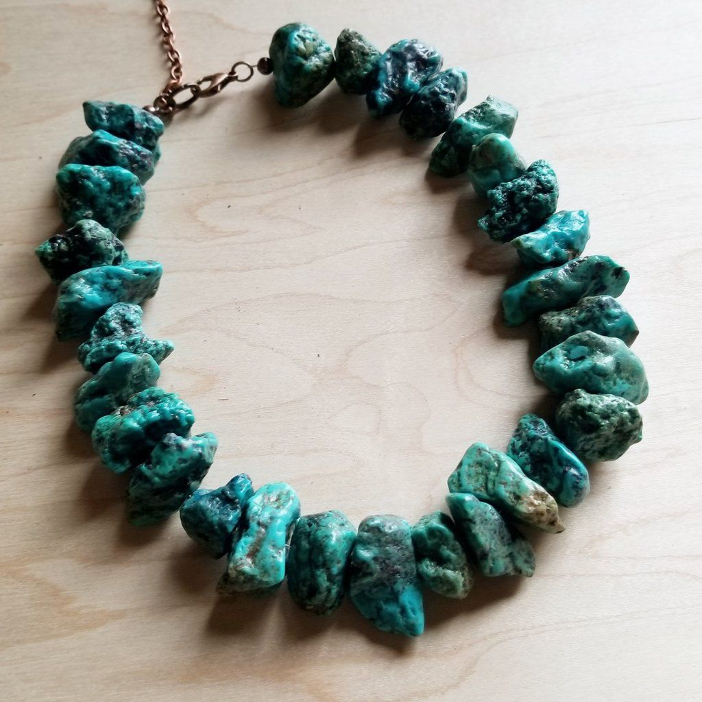 Chunky Natural Turquoise Collar Length Necklace 245b Turquoise Natural Turquoise Turquoise Choker