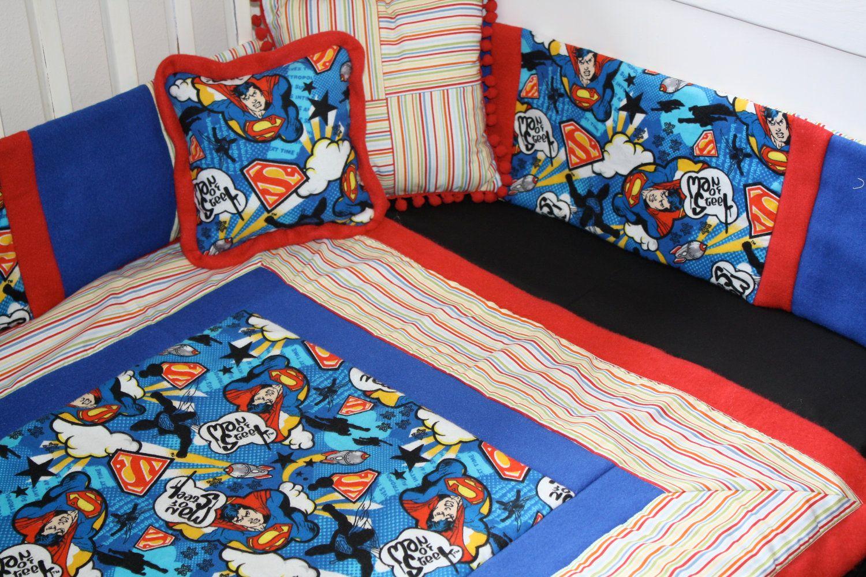 4 Pc Low Budget Super Man Baby Bedding 150 00 Via Etsy