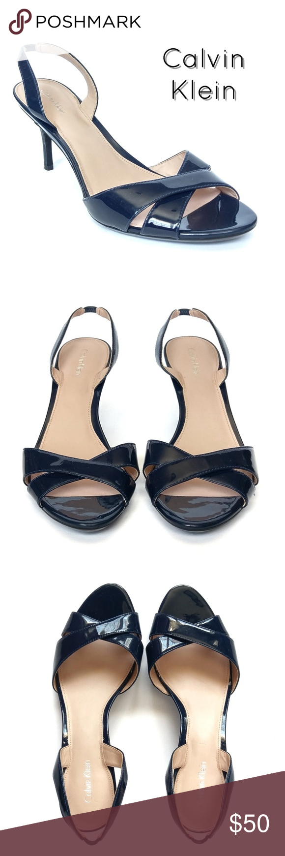 614f519fc4f Patent Leather Slingback Sandals EUC Calvin Klein navy blue Lucette patent  leather slingback heeled sandals.