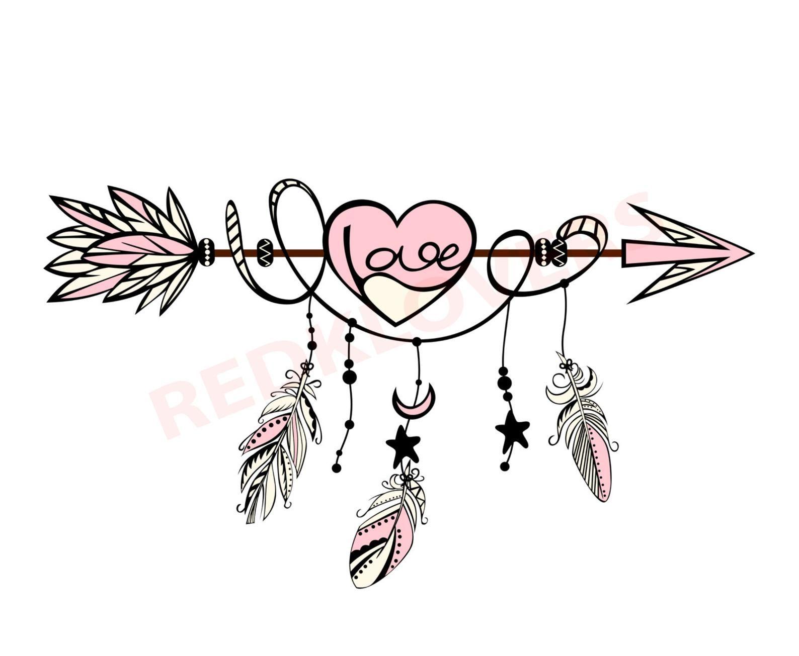 Svg Dxf Silhouette Feather Arrow Dreamcatcher Boho Native Love Scrapbook Digital Download Files Svg Ai Psd Png Pdf Tshirt Designs In 2021 Dream Catcher Tattoo Design Feather Tattoos Arrow Tattoo Design