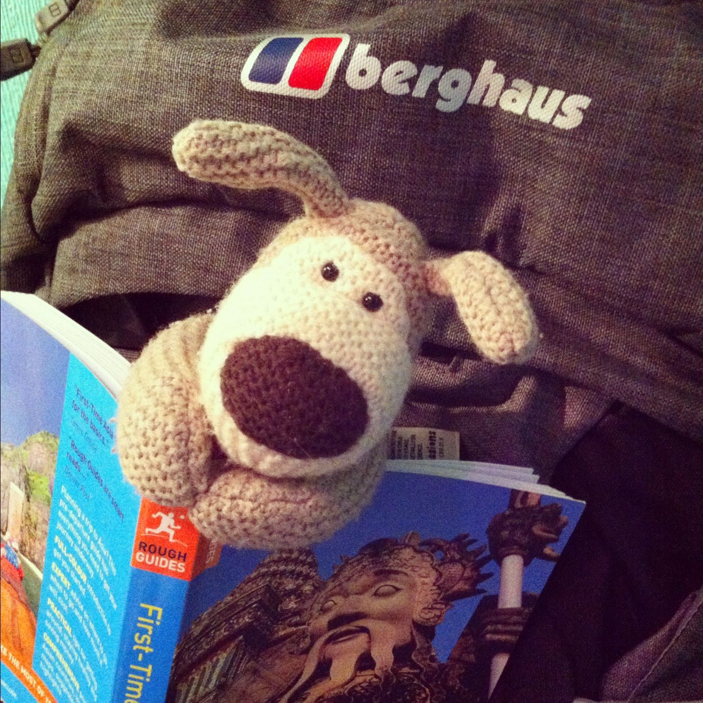 Boofle Knitting Pattern : Boofle in my backpack getting ready for RTW. www.totallysamsworld.com My Bo...