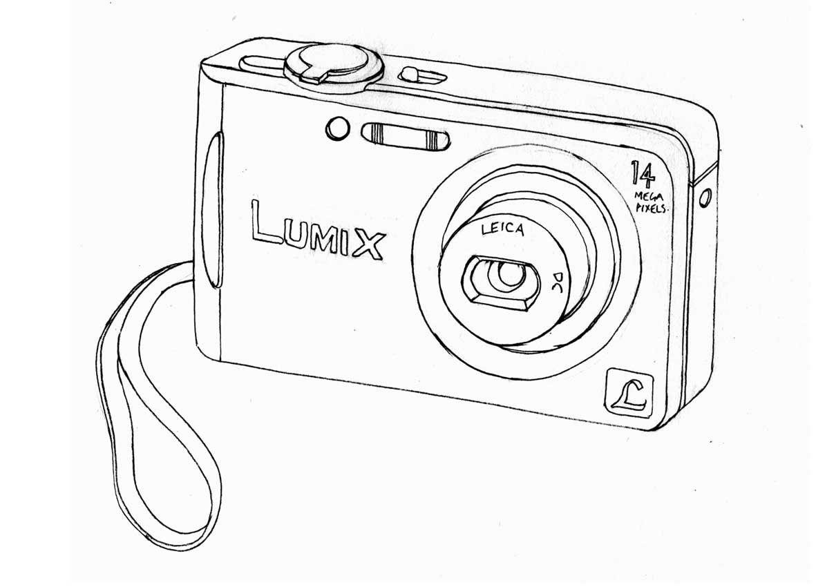 Dibujo Descriptivo Objeto Cotidiano Perspectiva Camera Drawing Drawings Scrapbook Pages