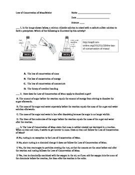 Law Of Conservation Of Mass Worksheet Conservation Of Mass
