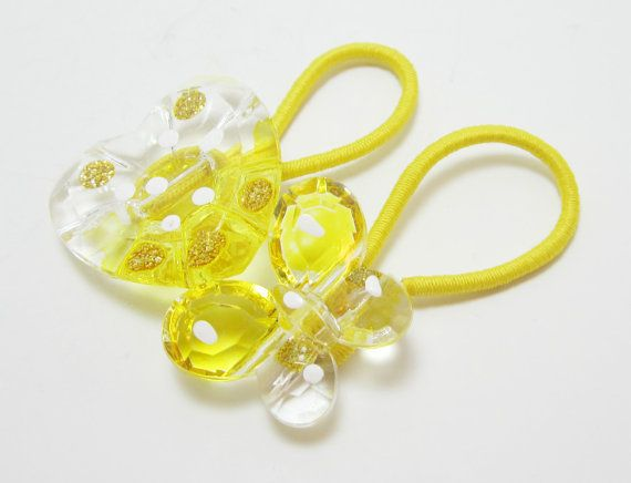 Yellow Heart and Butterfly Button Ponytail by PrettyPonytails11, $5.00