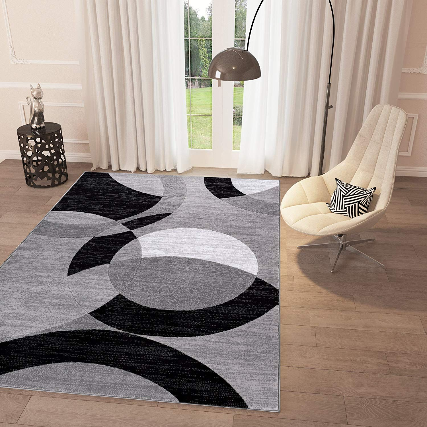 Black And White Geometric Grey Circles Area Rug 2 X 7 3 Runner Casual Modern For Dining Living Room Bedroom Easy Clean Carpet