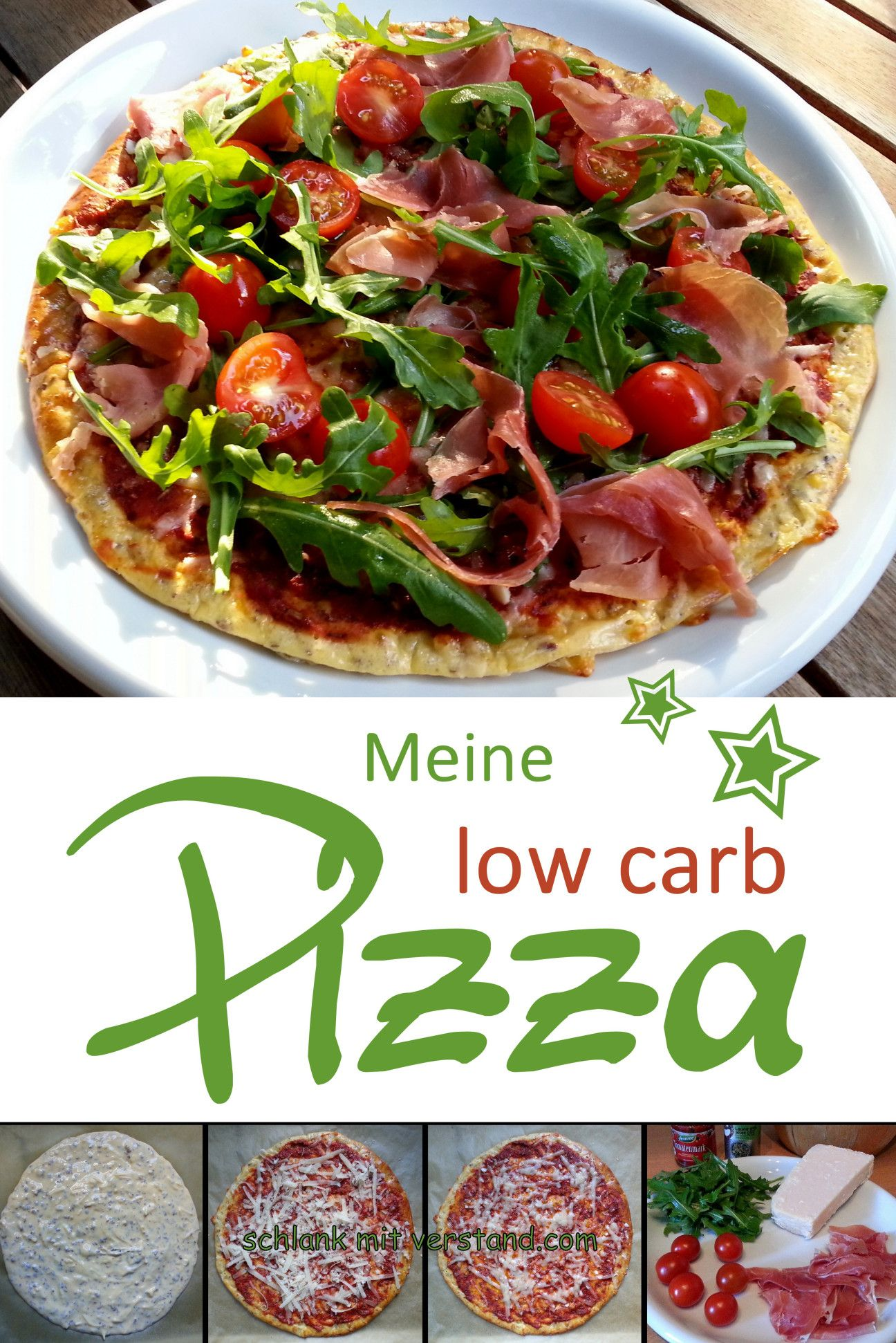 Photo of low carb pizza with parma ham and arugula