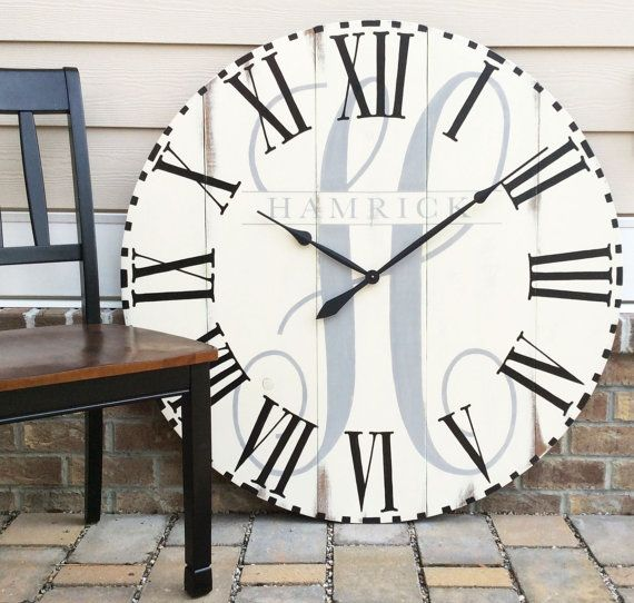 Large Wall Clock Modern Home Decor Family Name Established Sign