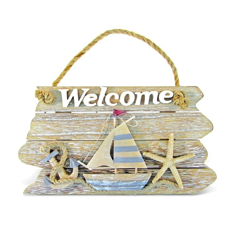 Photo of Puzzled Nautical Decor Collection Vintage Welcome Sign (Size: 9.75L x 1.25″W x 5…
