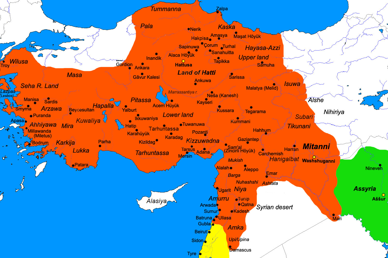 Hittite Empire Map Of The Hittite Empire C BC - Map of egypt 1300 bc