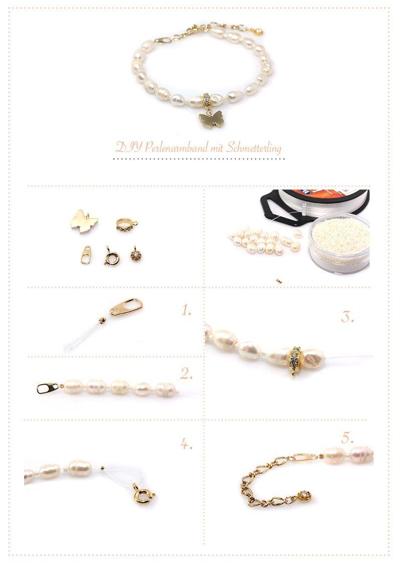 Diy perlenarmband mit schmetterling diy armband diy schmuck y armband diy - Perlenarmband basteln ...