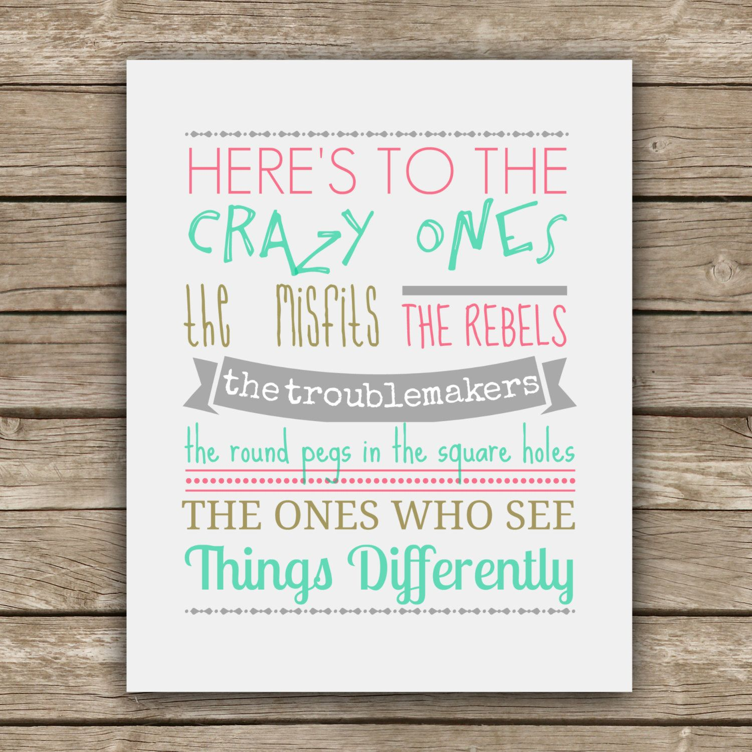 Here's to the Crazy Ones Steve Jobs Quote Graphic