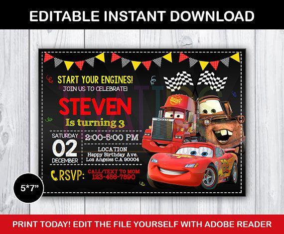 Editable Cars Invitation McQueen Birthday Party Lightning