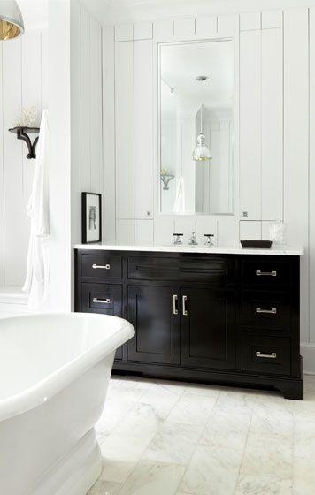 White bathroom with dark coloured cabinet also the floor tile for my new house pinterest black vanity