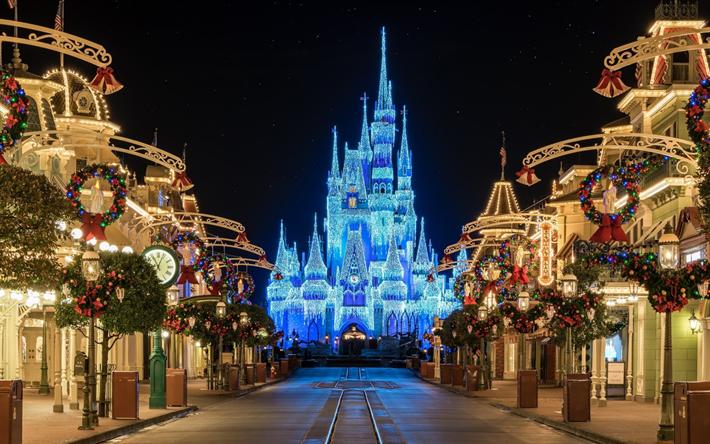 Hamta Bilder Disneyland Slottet Jul Walt Disney Paris Frankrike Marne La Vale Neon Belysning Sevardheter Amusement Park Disney Land Parque De Diversoes Disney Em Paris
