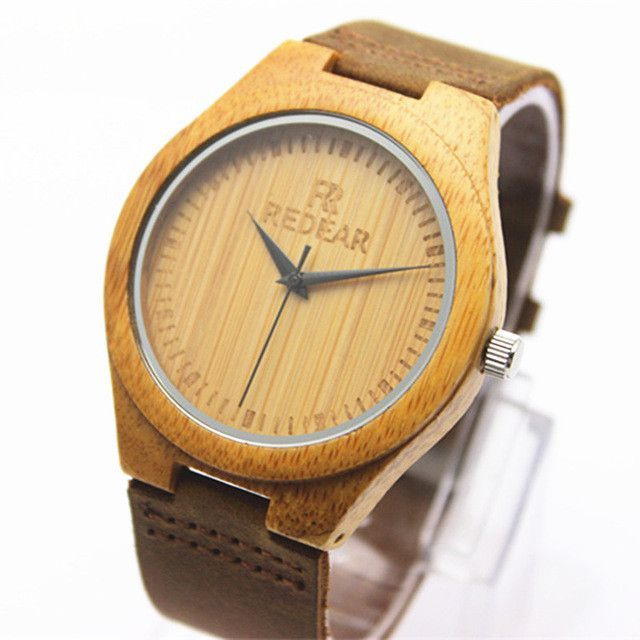 Check it out! Genuine Leather Bamboo Wooden Men's Watch