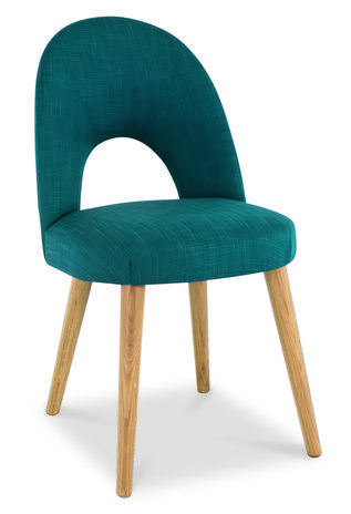 Oslo Oak Teal Fabric Upholstered Dining Chairs - Pair Teal fabric