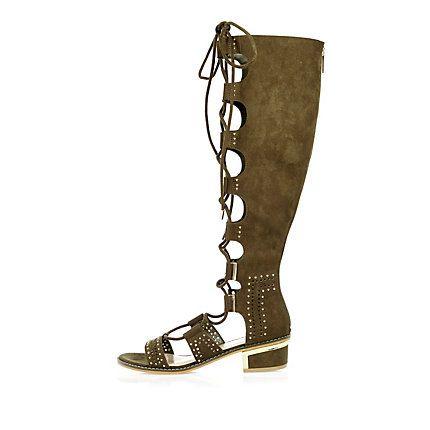 b2a0e9e887c2 Khaki knee high gladiator sandals £55.00