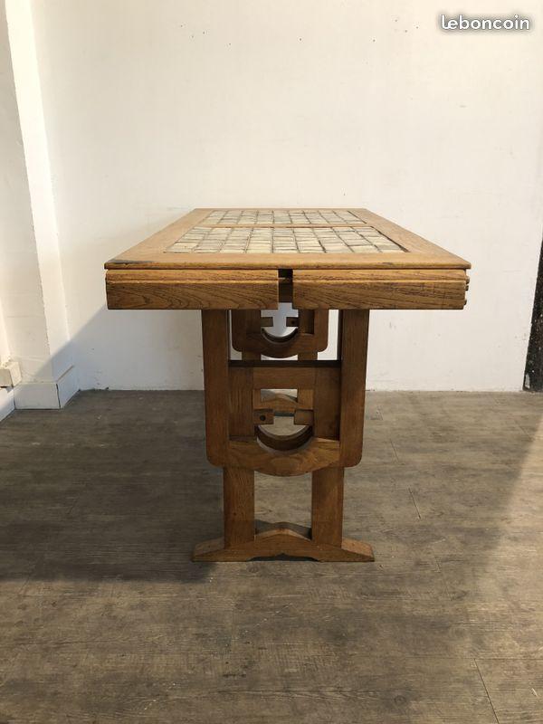 d3438247eb4c2a TABLE CONVERTIBLE GUILLERME ET CHAMBRON 50 60 70 Table basse  console en  chêne massif avec