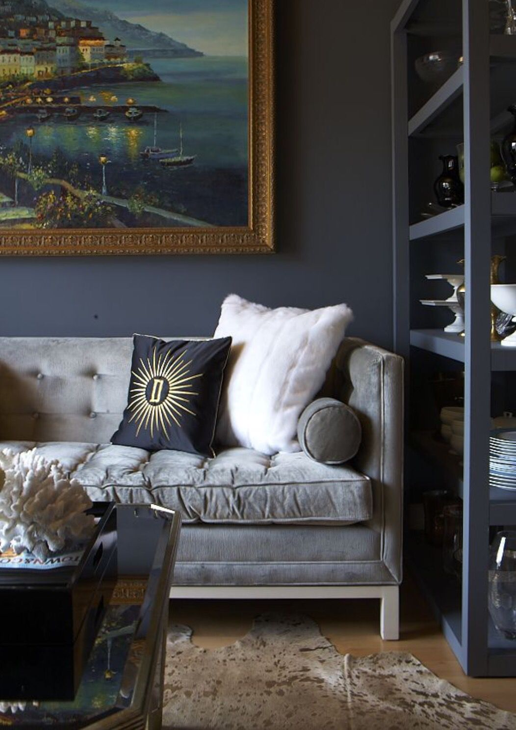 Pin By Shandra Hardee On Sofas Dark Interiors Grey Sofa Living Room House And Home Magazine