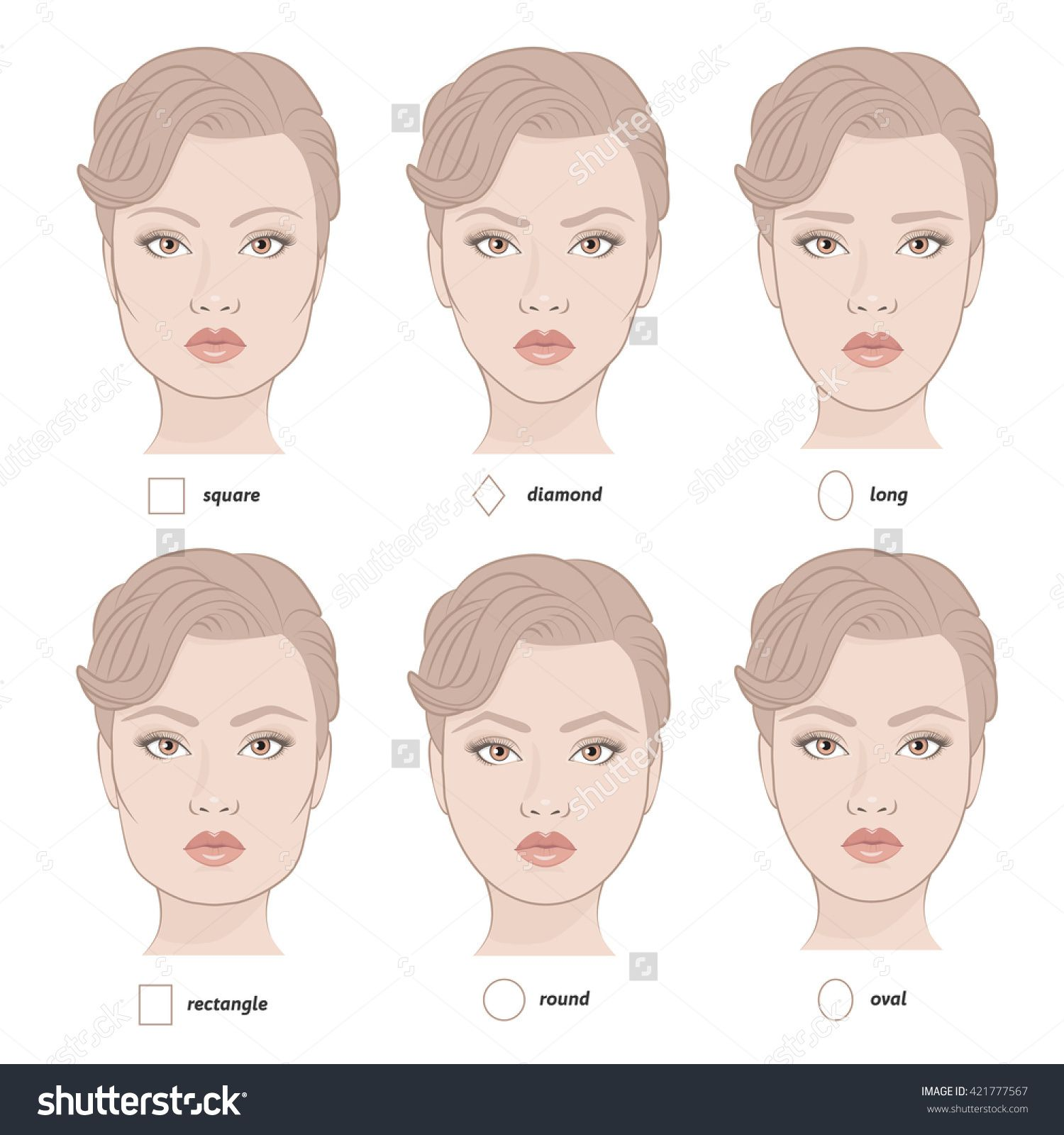 Set Of Vector Face Shapes Eyebrows That Are Suited To Different