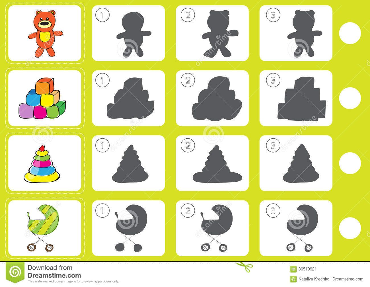Match Shadow Worksheet For Education Stock Vector Illustration Of Educational Find 86519921 Education Worksheets Shadow