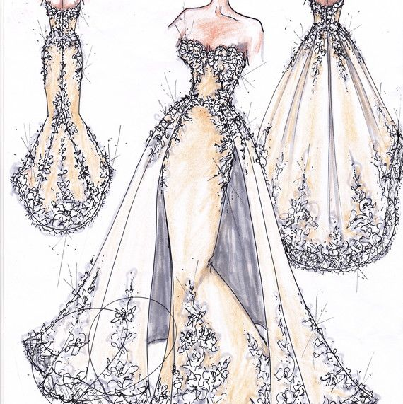 I Have Seen This One Sketch Of Randy S New Collection And This Is The First Time I Can Say In 2020 Dress Design Sketches Wedding Dress Sketches Fashion Design Drawings