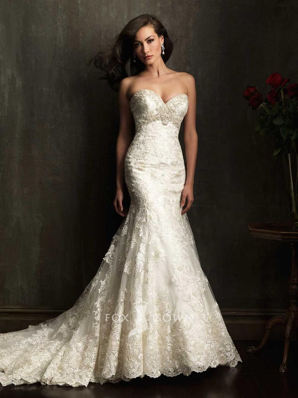 New GORGEOUS FIT uc lace trumpet sweetheart strapless slim wedding dress Allure Bridals Style