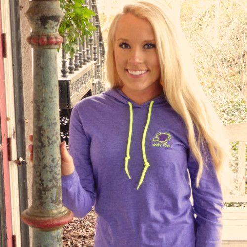 Embroidered Heather Purple Lightweight Hooded Tee
