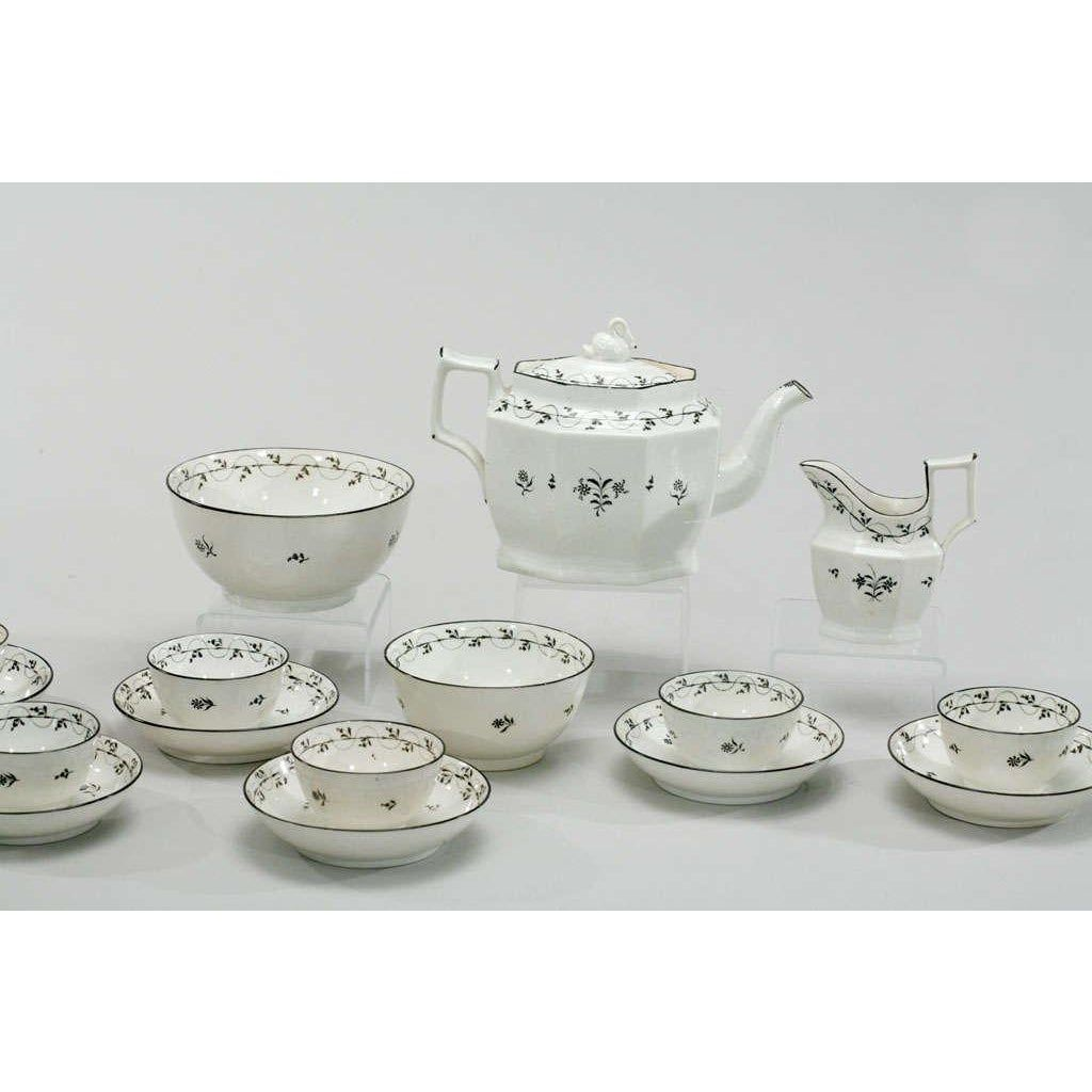 18th Century Pearlware Tea Set With Swan Finial Tea Set 18th Century Porcelain 18th Century