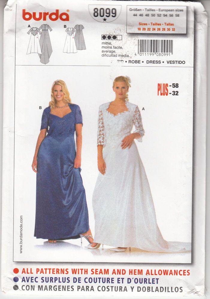Wedding Gown Bridesmaid Dress Burda Sew Pattern 8099 Uncut Szs 18-32 #Burda8099 #weddingbridesmaiddress