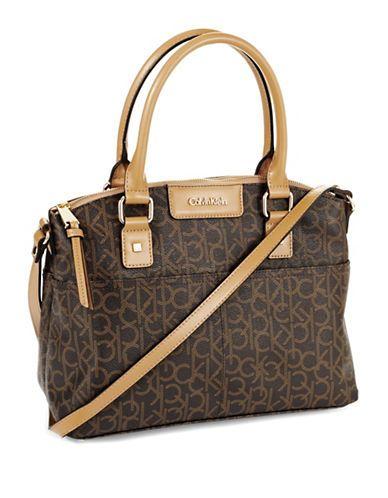 2fb28f6956 Calvin Klein Hudson Monogrammed Satchel Bag BROWN/KHAKI/CAMEL ...