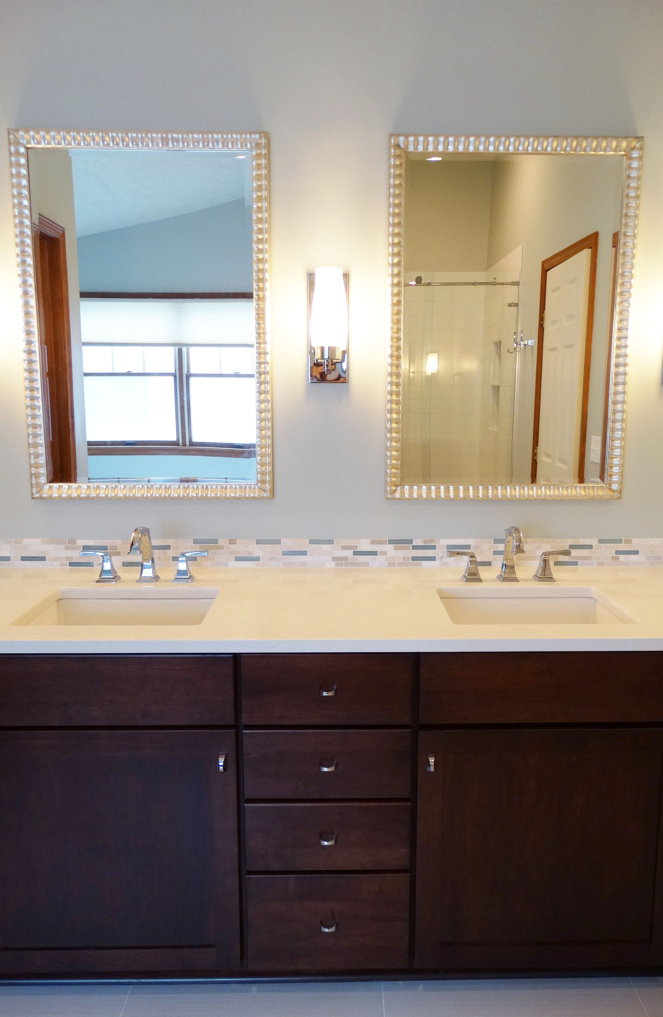 This Ann Arbor Master Bathroom Remodel Features Medallion Maple Cabinetry In Ginger Snap Daltile Accent