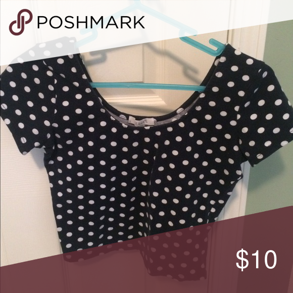 Navy and white polka dot crop top From Delia's, never worn, size m Delia's Tops Crop Tops