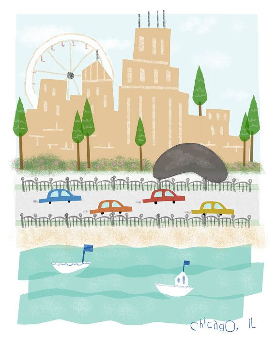 #flat #design #poster: Chicago Illinois - 11x14 print - city illustration poster wall decor children art