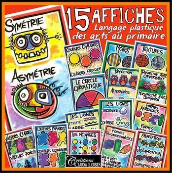 Affiches illustrant le langage plastiques des arts, Français (15 affiches)