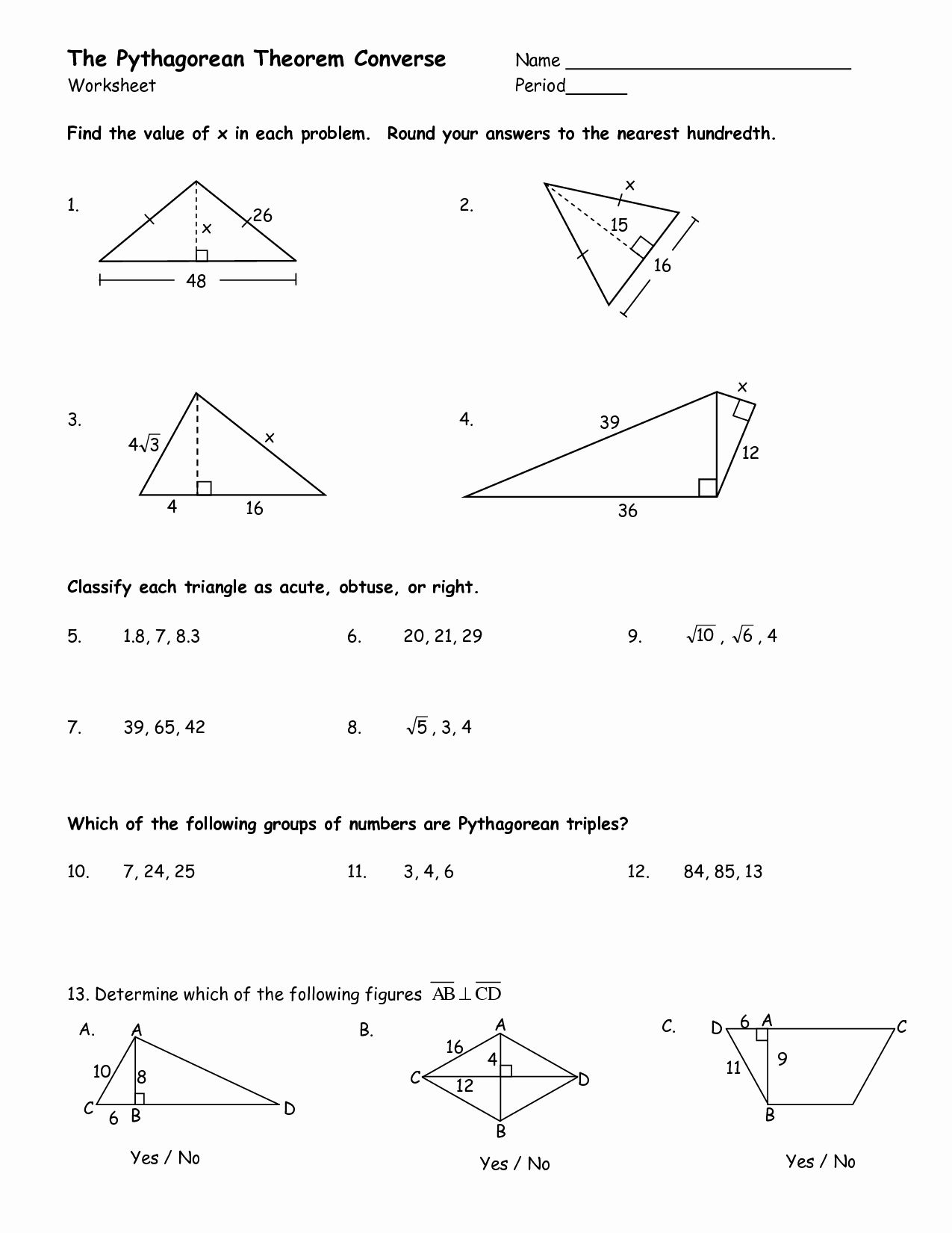 Right Triangle Trigonometry Worksheet Doc
