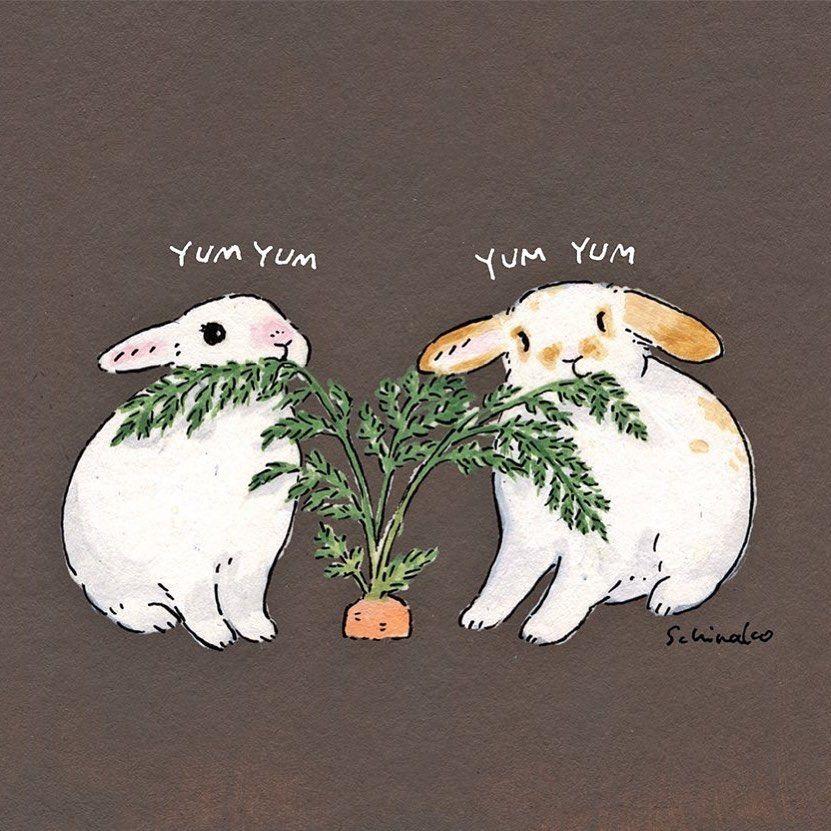 """森山標子/Schinako on Instagram: """"Carrots and rabbits🥕 @rabbit_department さんのグッズ用に描いたものです🐇 * #illustration#art#drawing#design#acrylicpaint#アクリル絵の具#rabbit#bunny#うさぎ"""""""