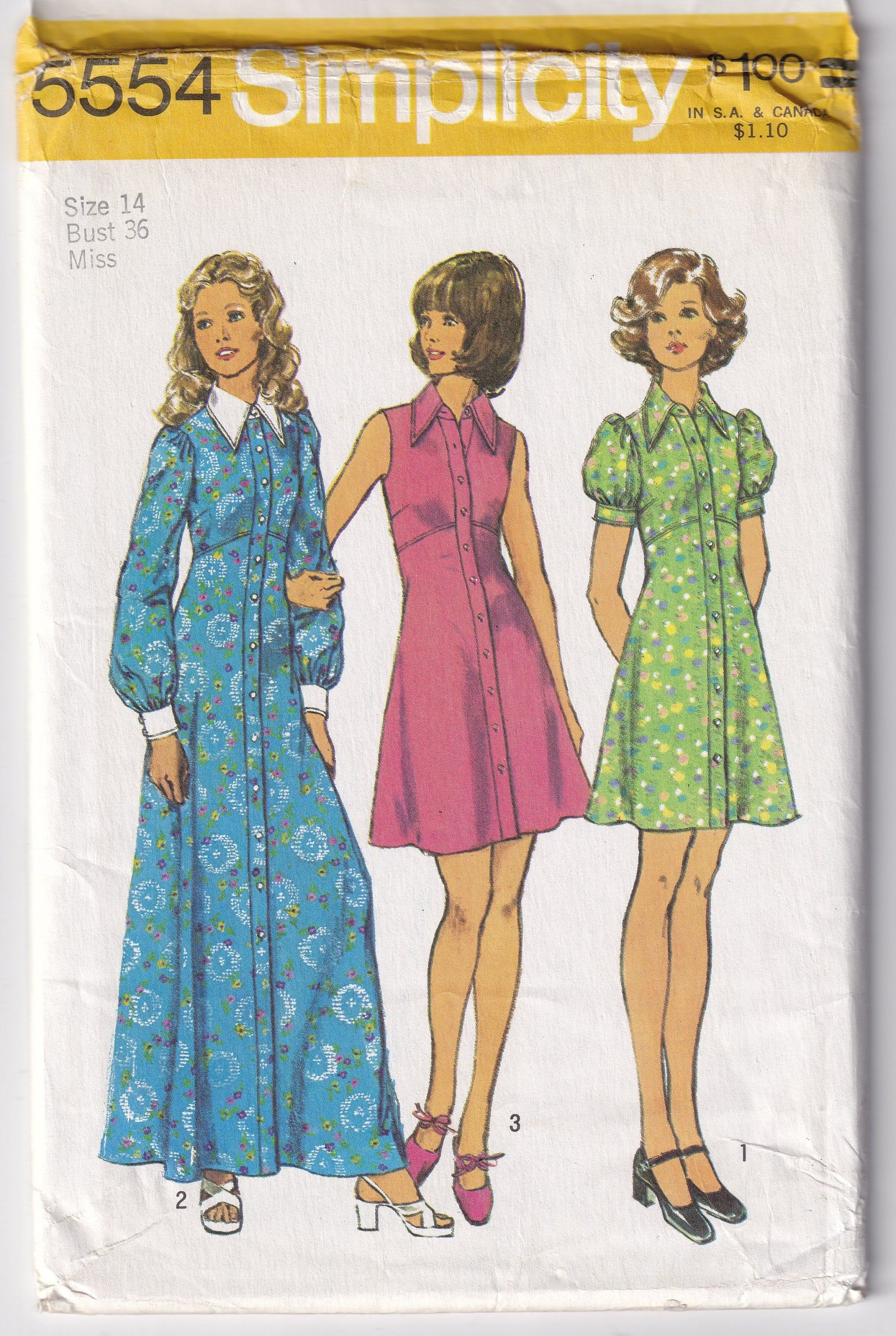 Vintage 1973 Simplicity 5554 Uncut Sewing Pattern Misses Dress In Two Lengths Size 14 Bust 36 By Sewuniqueclassi Sweaters Women Fashion Sewing Dresses Fashion