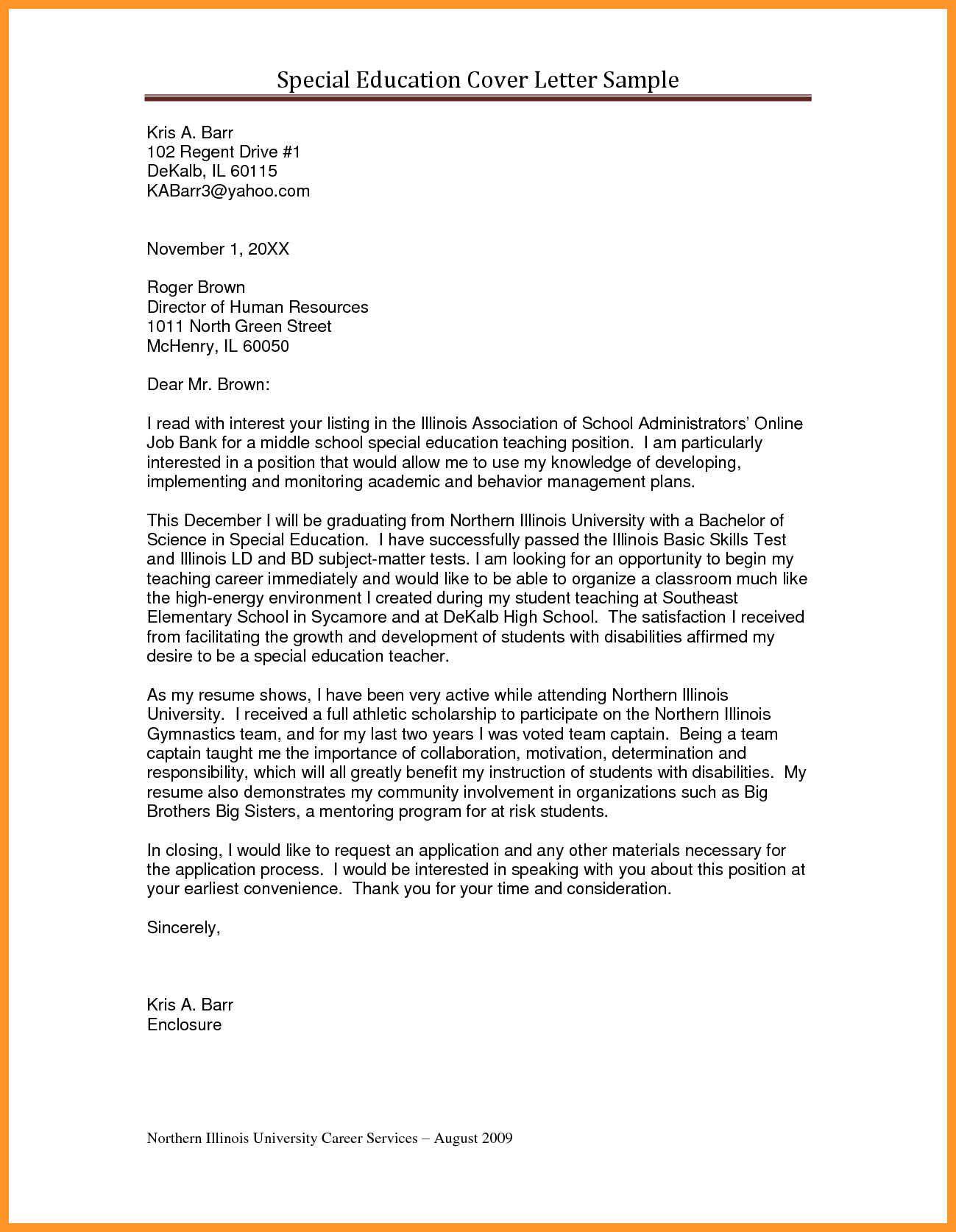 25 Sample Cover Letter For Teacher 9 10 Educators Loginnelkriver