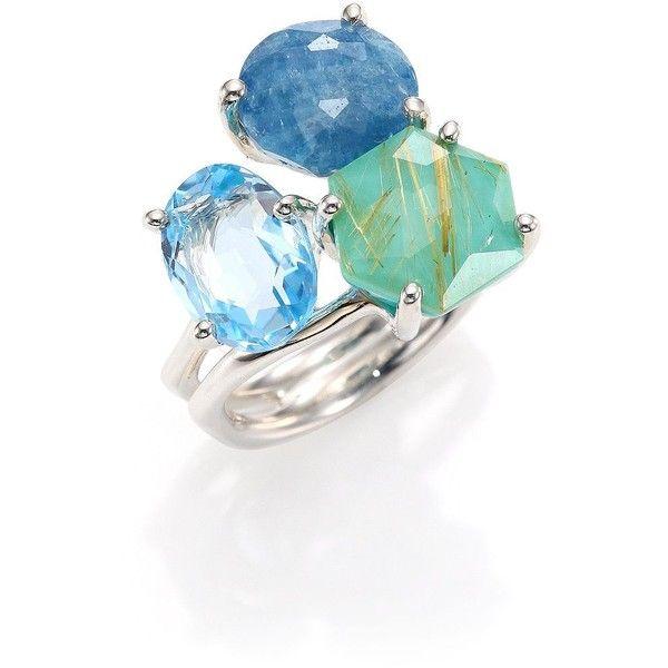 IPPOLITA Rock Candy Milky Aquamarine, Larimar, Aquamarine & Sterling... (1,401 CAD) ❤ liked on Polyvore featuring jewelry, apparel & accessories, ippolita, ippolita jewelry, rock jewelry, sterling silver jewelry and aquamarine jewellery